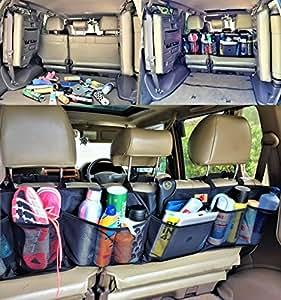 P&F High Quality Products 後部座席用 大容量  高品質 高耐久性 シートバックポケット 黒