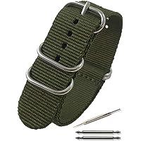 Calme(カルム)NATO ベルト 腕時計 バンド G10 プレミアム ナイロン 交換簡単 ストラップ 16㎜ ~ 24㎜ 交換説明書付き (16㎜, アーミーグリーン)