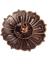 shanbentangロータス香炉ホルダーfor Sticks Cones Coils Incense、ヴィンテージスタイル、銅色