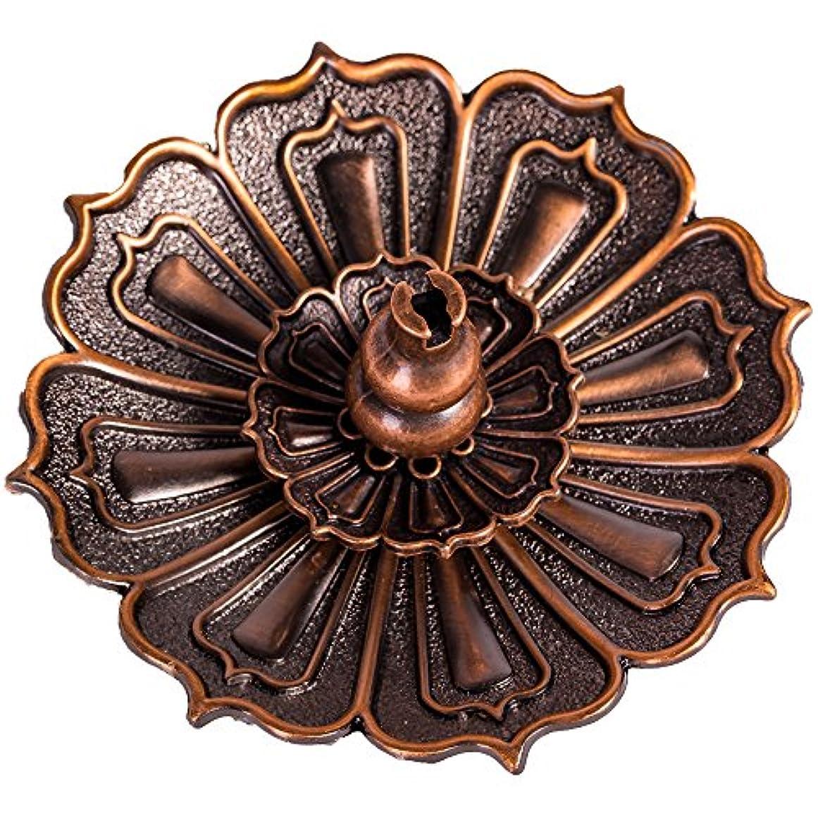 絶壁経験的膨らみshanbentangロータス香炉ホルダーfor Sticks Cones Coils Incense、ヴィンテージスタイル、銅色
