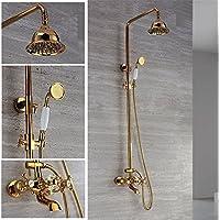 ヨーロッパスタイルで完全にの銅シャワーシャワーシャワーシャワー、ゴールデンシャワー水のホット、コールド、滝、to the Wall Hangingシャワーヘッドハンドシャワーシャワーシステム