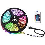 LED Strip Light 16.4ft/5m, Xkey USB Powered LED Light Strip, Non-Waterproof Rope Light Color Changing RGB SMD 5050 Tape Light