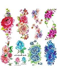 Qufan タトゥーシール 薔薇 赤 蝶 刺青 花 青 フラワー 8枚セット タトゥーステッカー ボディーシール メンズ 刺青シール 防水 腕、足、体、胸、肩、背中に簡単貼る TATOO