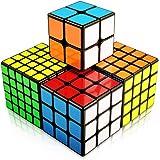 FAVNIC 魔方 マジックキューブ ステッカー 立体パズル【6面完成攻略書付き】競技用 ポップ防止 知育玩具 (4個セ…