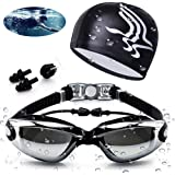 Aokelily Swim Goggles And Cap Set 4 in 1, UV 400 Protection Lenses Clear Anti-Fog Swimming Goggles Waterproof No Leaking With