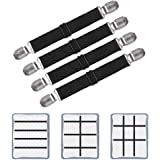 """Adjustable Bed Sheet Clips, Sheet Fasteners Holder Straps and Suspender, Grippers, Extend From 21"""" to 80"""" Long Style Elastic"""