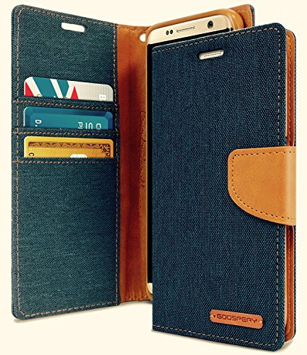 GALAXY S8 ケース 手帳型 GOOPSERY 画面 保護 スタンド カード収納 ストラップホール Denim Design TPU Case デニム ジーンズ デザイン ネイビー