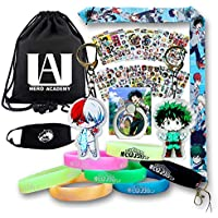 Anime My Hero Academia Gift Set-1Pack Drawstring Bag Backpack, 1Pcs Anime Lanyard, 12Sheet Cartoon Laptop Stickers, 2 Anime Keychains, 1Pcs Phone Ring Holder, 7Pcs Luminous Bracelet, 1Pcs Face Mask