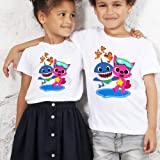 St. Lun Cartoon Cute Design shirts Fashion Kids Tees Baby Shark Boys Girls T Shirt (Size : 90CM)