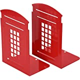 Non-Slip Bookends, MerryNine 1 Pair Heavy Metal Non Skid Sturdy Telephone Booth for Bookshelf Office School Library