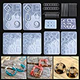 3 Pairs Earring Resin Molds with 2pcs Stud Earring Jewelry Epoxy Resin Silicone Molds Including Earring Hooks, Jump Rings, Head/Eye Pins for Resin Jewelry, Pendant Crafting, Resin Crafts DIY