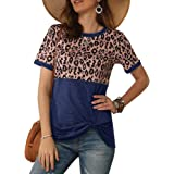 chimikeey Womens Short Sleeve Leopard T Shirts Loose Casual Summer Twist Knot Tunic Tops Tee