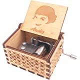 Amelie Music Box Hand Crank Musical Box Carved Wooden,Play The Theme Song of Amelie,Brown