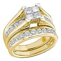 10KTイエローゴールドレディースプリンセスダイヤモンドブライダルウェディング婚約指輪セット1/ 2cttw