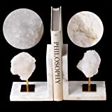 AMOYSTONE Broken Quartz Geode Bookends White Decorative Book Ends Heavy Duty for Office 1 Pair 5LBS