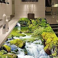 Mingld Hd川3Dステレオフロア壁画リビングルームの浴室防水滑り止め自己接着環境に優しいPvc床の壁紙ステッカー-120X100Cm