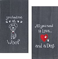 Kay Dee Dog Lover Embroidered Waffle Towel Set - One Each You Had Me at Woof & Dog Love by Kay Dee