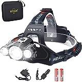 LETOUR Headlight & Bike Light 2 in 1, LED Headlamp 5000 Lumen, CREE Rechargeable Head Lamp, Waterproof Flashlight, Dismountab