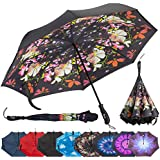 (Flower Bouquet) - Repel Reverse Folding Inverted Umbrella with 2 Layered Teflon Canopy - Golf Umbrella with Reinforced Fibreglass Ribs