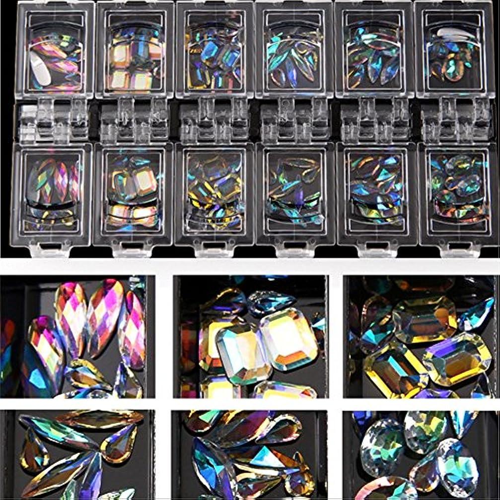 韻現金貴重な12スタイル/セット3dネイルアートカラフルなクリアクリスタルミックスサイズレディネイルのヒントデカールデコレーション