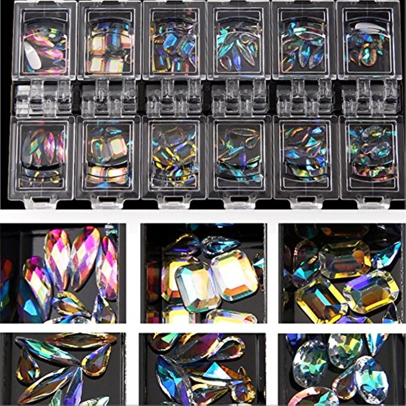 12スタイル/セット3dネイルアートカラフルなクリアクリスタルミックスサイズレディネイルのヒントデカールデコレーション