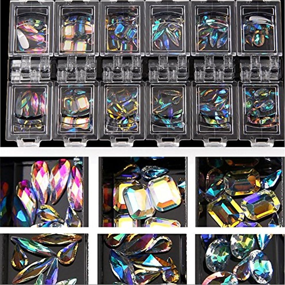 ディレクトリどきどき蓋12スタイル/セット3dネイルアートカラフルなクリアクリスタルミックスサイズレディネイルのヒントデカールデコレーション