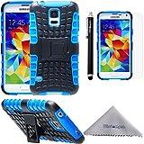 Samsung Galaxy S5 ケース Wisdompro docomo SC-04F/au SCL23対応 耐衝撃 ハイブリッド 2重構造 ソフトTPU×ハードPC ギャラクシー S5 カバー スタンド付き ラギッド ブルー+ブラック