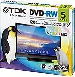 TDK 録画用DVD-RW デジタル放送録画対応(CPRM) 1-2倍速 5色カラープリンタブル 5枚パック 5mmスリムケース DRW120DPMA5UE