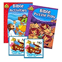 Bible Stories Coloring and Activity Book Set (2 Books ~ 96 Pages) Jesus Noah Daniel ~ With Noah's Ark Stickers 【You&Me】 [並行輸入品]