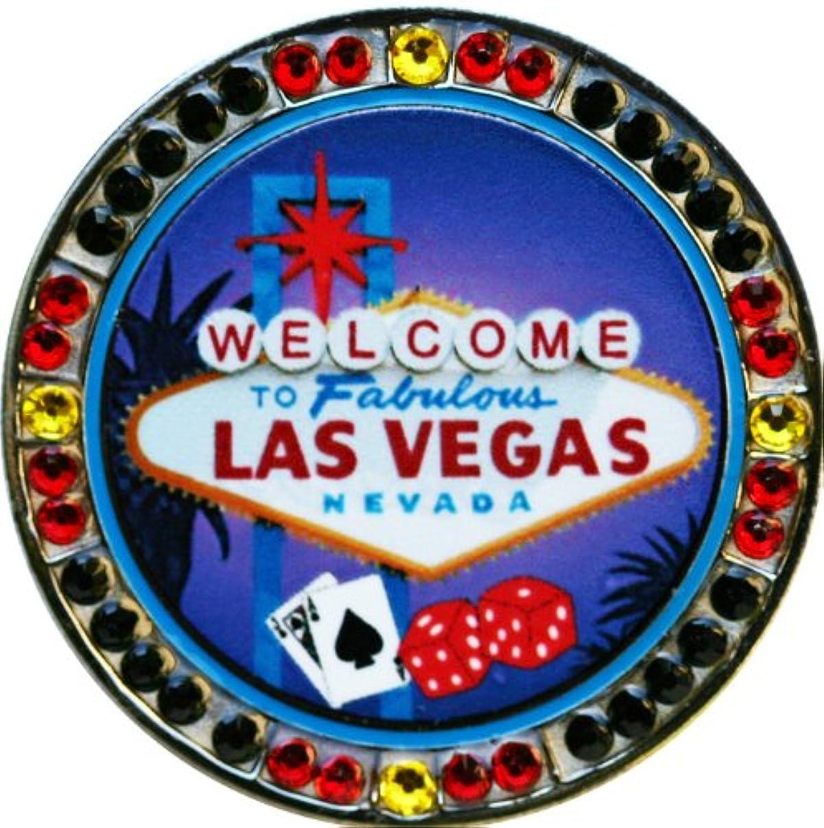 フェザー既婚もつれスワロフスキーWelcome to Las Vegas Lucky Diceゴルフボールマーカーwith Matching Welcome to Las Vegas帽子クリップ