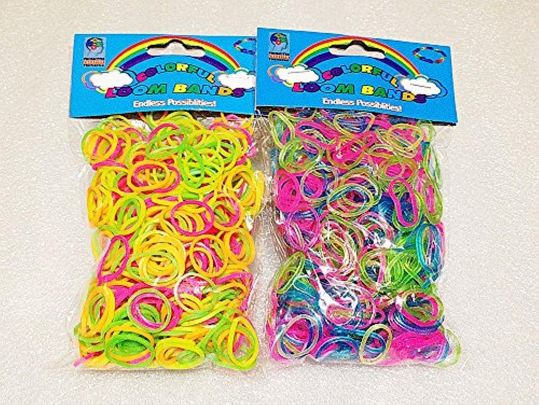 [Artasy ™][並行輸入品] DIY 明るい蛍光 X 銀ラメカラーゴムバンドブレスレット (ミックス) Loom Bands refill Pack - (600 + 600 pcs) rubber ring Color: MIX