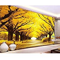 Wuyyii 壁紙3 D黄色の葉トンネル家の装飾の背景リビングルームの寝室のテレビ壁画3Dの壁紙-400X280Cm