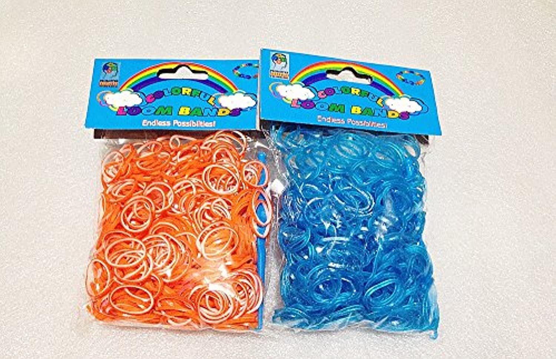 [Artasy ™][並行輸入品] DIY 二重リングゴム X ラメブルーゴムバンドブレスレット (オレンジ〔外〕 x ホワイト〔内〕 + ラメブルー) Loom Bands refill Pack - (600 + 600 pcs) rubber ring Color: Orange X White + Glitter Blue