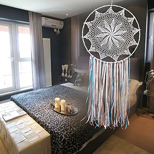 AWAkingdemi White Handmade Macrame Dream Catcher Wall Hanging Home Car Decor Ornament