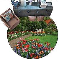 ガーデンプリント エリアラグ ベンチオーバールックザレイクアットストゥールヘッド カントリーサイド クラウディデイ 風景プリント ホームデコレーション フォールカープ (直径55インチ) グリーングレー 6'/1.8m