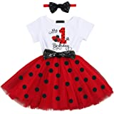 Baby Girl Newborn Princess It's My 1st/2nd Birthday Party Cake Smash Outfit Shinny Printed Sequin Bow Tulle Tutu Dress Fancy