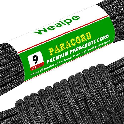 パラコード 9芯 パラシュートコード 4mm テント ロープ 31m ガイロープ 耐荷重 280kg アウトドア キャンプ サバイバル 用