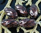 銅Travertine黒いチェコガラスのスパイラルチューブねじれのビーズ12mm×7mm14pcs