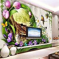 Weaeo 子供の部屋の上にパーソナライズされたカスタム3D花の森の緑のリビングルーム壁紙の壁紙の壁紙-150X120Cm
