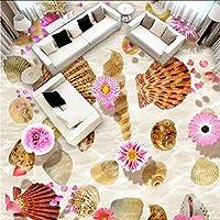 Mingld 注文の3D池巻き貝の花の床の壁紙の壁画の居間の床ポリ塩化ビニールの壁のための自己接着印刷物の壁紙-250X175Cm