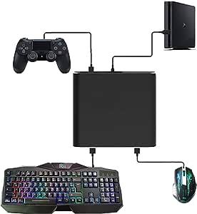 Uniraku「2019最新版」Nintendo Switch用キーボードとマウス変換アダプター 有線と2.4Gキーボード・マウスの変換両対応 FPS, TPS, RPG と RTSのゲームに最適 キーボードでキャラクターの動きを操作する マウスでゲーム中にスコープを操作して、視点・照準合わせ 速度を下げようとF3を押し、上げようとF4を押す PS4/PS4 Slim/PS4 Pro /Switch/Xbox One/Xbox One S/Xbox One X 本体対応