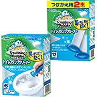 【まとめ買い】 スクラビングバブル トイレ洗浄剤 トイレスタンプクリーナー フレッシュソープの香り 本体 (ハンドル1本+付替用3本セット) 18スタンプ分 38g×3本