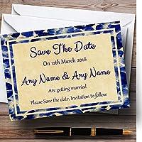 ヴィンテージブルー花はがきスタイルPersonalized結婚を保存日付カード 10 Invitations