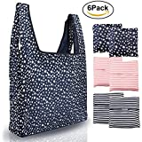 ANALAN Reusable Grocery Bags 6 Pack Heavy Duty Folding Shopping Tote Bag Washable Durable Lightweight and Waterproof Nylon Reusable Shopping Bags