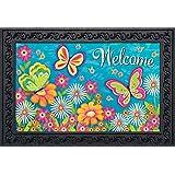 """Briarwood Lane Butterfly Garden Spring Doormat Welcome Indoor Outdoor 18"""" x 30"""""""