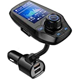 Guanda Bluetooth FM Transmitter for Car, Bluetooth Car Adapter, 4-in-1 Car MP3 Player with 1.8 Inch Color Display, AUX Input/