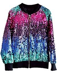 Zhhlaixing ファッションスパンコールの衣装 Women's Fashion Gradient Change Color Sequined Zipper Baseball Jacket Ladies Outerwear