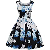 Kwok Women Dress Women Vintage Bodycon Sleeveless O Neck Evening Printing Party Prom Swing Dress Cocktail Prom Gown Fashion D