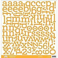 "Chippers Monochromatic Chipboard Alphabet Stickers 12""X12""-Tangerine (並行輸入品)"