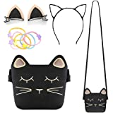 Little Girls Purse, Cute Cat Crossbody Bag with Cat Ear Hair Clips/Cat Headband and Elastic Hair Ties, 4 Pack